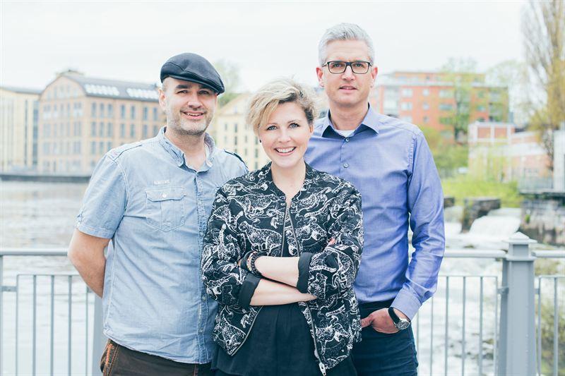 Från vänster: Peter Brauner, VD på Effektfabriken, Ida Lilja, VD på Idadesign och Johan Lindén, VD på Gaia.