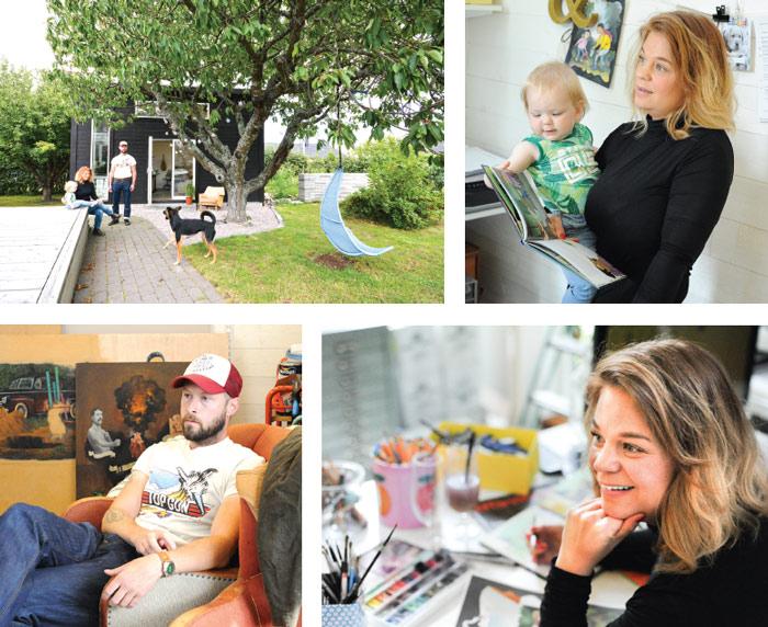 Claes Fahlgren som är konstnär, byggde deras ataljé. Foto: Björn LIsinski