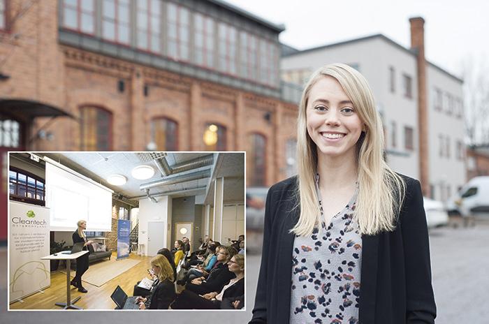 Nina Kjellman, försäljningschef för förnybara produkter, besökte kunskapsseminariet om biodrivmedel på Cleantech Park i Linköping den 12 januari för att berätta om  verksamheten. Foto: Björn LIsinski