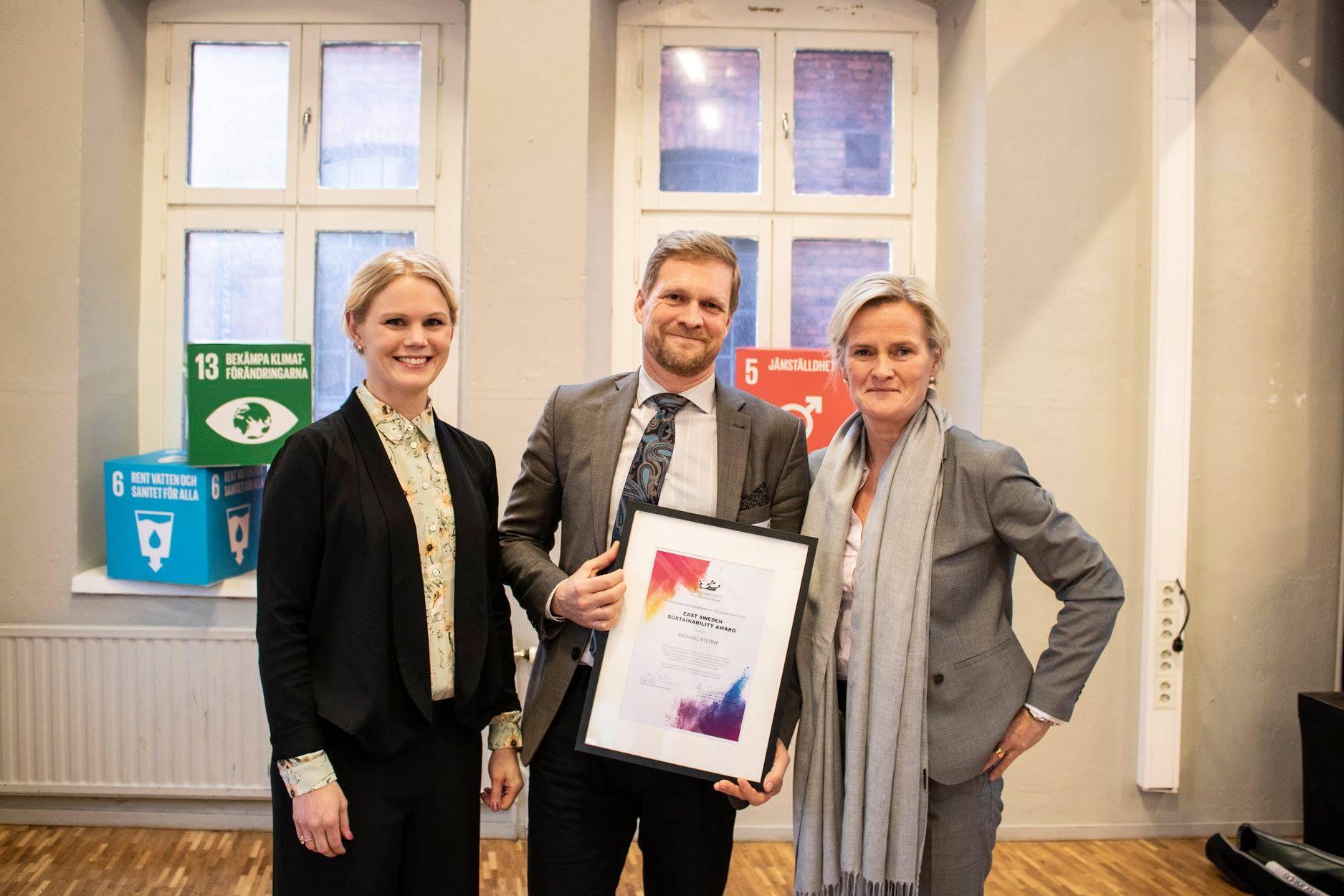 Michael Sterne får handelskammarens hållbarhetspris Foto: Handelskammaren