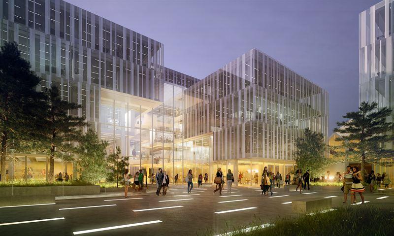 Klart för byggstart av Ebbepark I första etappen av Ebbepark skapas kontor, ytor för möten och samverkan, caféer, ett expohus och en träningsanläggning. Illustration: Arrow Arkitekter.