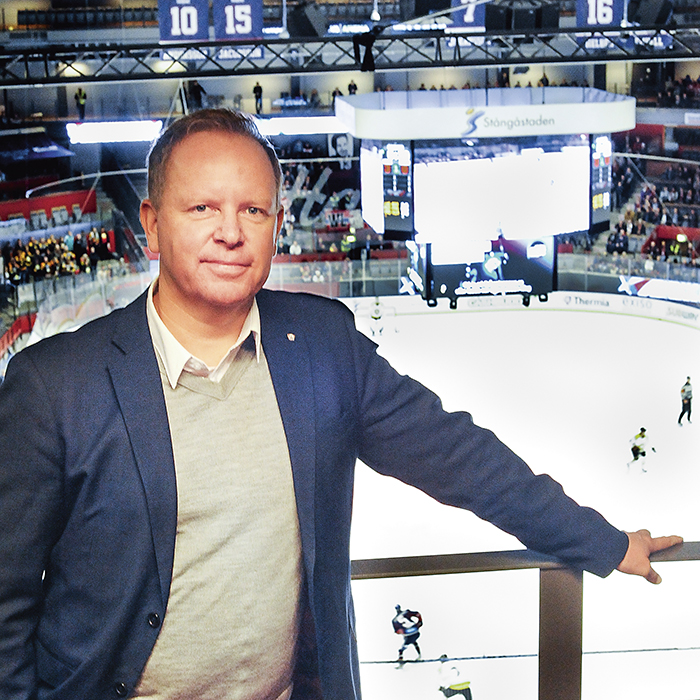 Löper från inredning till hockey
